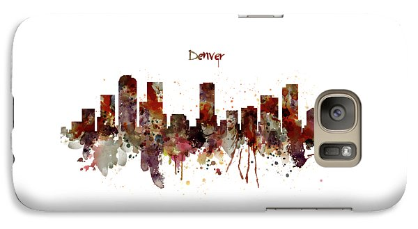 Galaxy Case featuring the mixed media Denver Skyline Silhouette by Marian Voicu