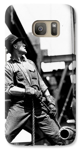 Derrick Man   Empire State Building Galaxy S7 Case by LW Hine