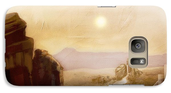 Galaxy Case featuring the painting Desert Base - Fantasy by Jean Moore