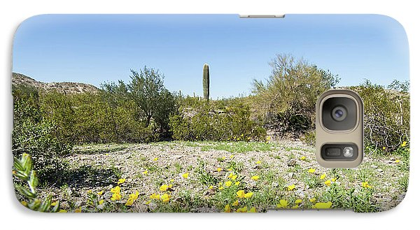 Galaxy Case featuring the photograph Desert Flowers And Cactus by Ed Cilley
