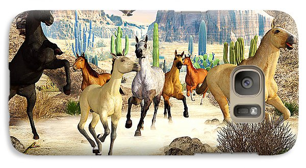 Galaxy Case featuring the photograph Desert Horses by Peter J Sucy
