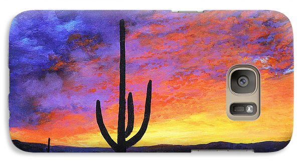 Galaxy Case featuring the painting Desert Sunset 4 by M Diane Bonaparte