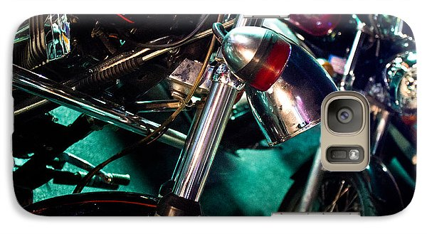 Galaxy Case featuring the photograph Detail Of Chrome Headlamp On Vintage Style Motorcycle by Jason Rosette