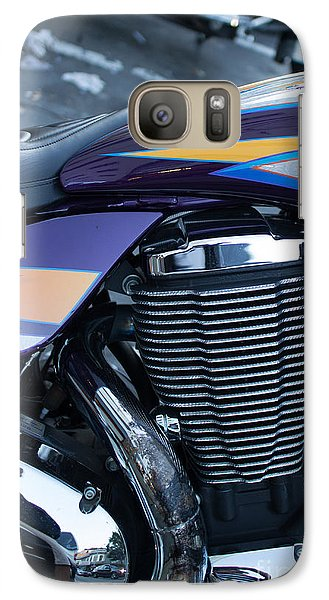 Galaxy Case featuring the photograph Detail Of Shiny Chrome Cylinder And Engine On Cruiser Motorcycle by Jason Rosette