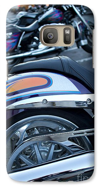 Galaxy Case featuring the photograph Detail Of Shiny Chrome Tailpipe And Rear Wheel Of Cruiser Style  by Jason Rosette