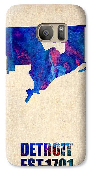 Detroit Watercolor Map Galaxy Case by Naxart Studio
