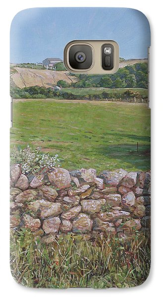 Galaxy Case featuring the painting Devon Field And Drystone Wall by Martin Davey