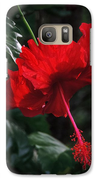 Galaxy Case featuring the photograph Dewy Hibiscus Macro 001 by Lance Vaughn