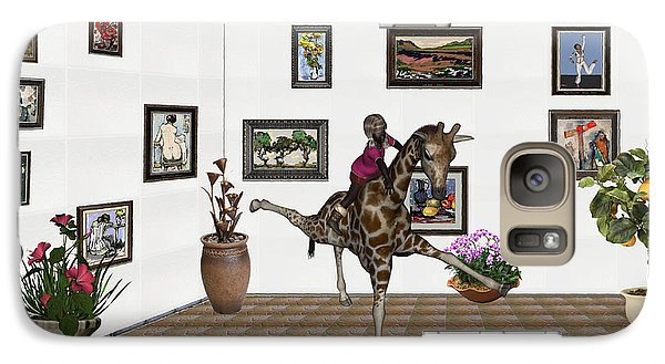 Galaxy Case featuring the mixed media digital exhibition _ It climbed up giraffe by Pemaro