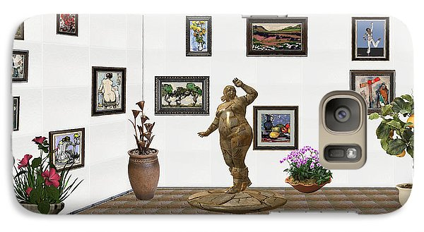 Galaxy Case featuring the mixed media digital exhibition  Statue 25 of posing lady  by Pemaro
