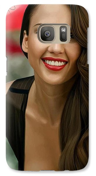 Digital Painting Of Jessica Alba Galaxy S7 Case by Frohlich Regian