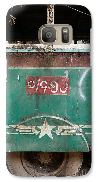 Galaxy Case featuring the photograph Dilapidated Vintage Green Bus In Burma - Side View With Tire by Jason Rosette