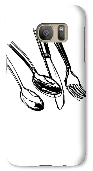Diner Drawing Spoons, Knife, And Fork Galaxy S7 Case by Chad Glass