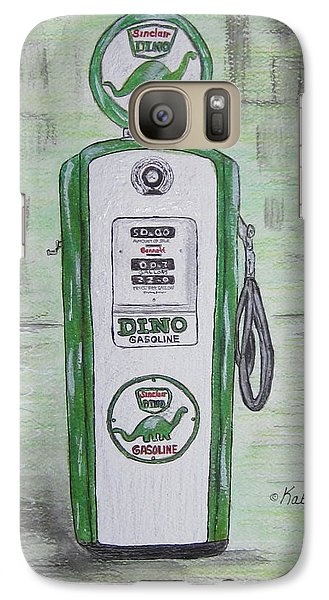 Galaxy Case featuring the painting Dino Sinclair Gas Pump by Kathy Marrs Chandler
