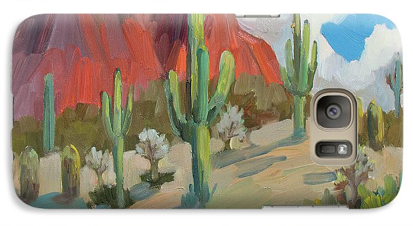 Galaxy Case featuring the painting Dinosaur Mountain by Diane McClary