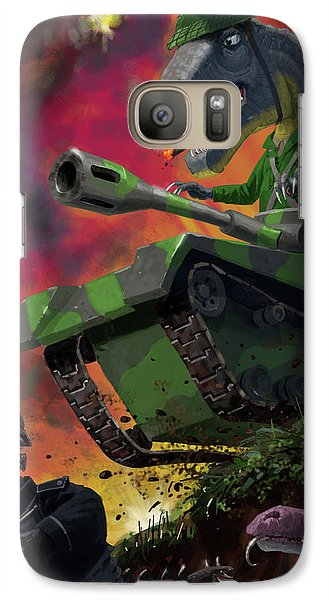 Galaxy Case featuring the painting Dinosaur War 01 by Martin Davey