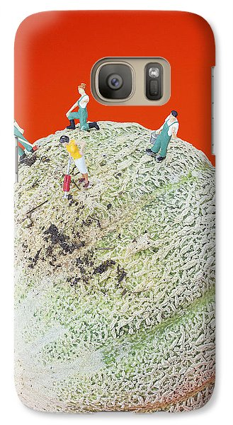 Galaxy Case featuring the painting Dirty Cleaning On Sweet Melon Little People On Food by Paul Ge