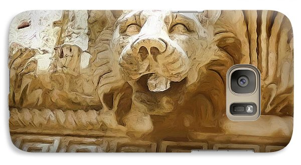 Galaxy Case featuring the photograph Do-00313 Lion Water Feature by Digital Oil