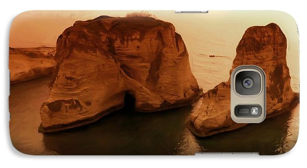 Galaxy Case featuring the photograph Do-00405 Raouche Sunset Beirut  by Digital Oil