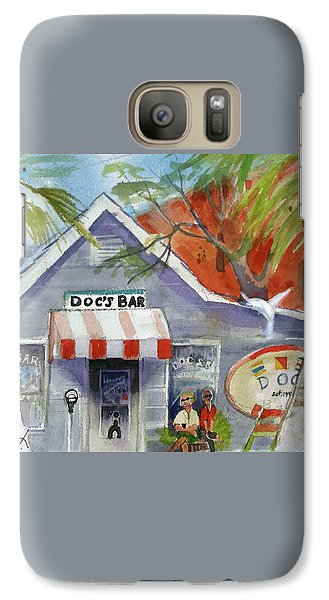 Galaxy Case featuring the painting Docs Bar Tybee Island by Gertrude Palmer