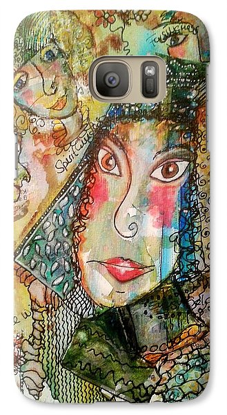 Galaxy Case featuring the mixed media Doe Eyed Girl And Her Spirit Guides by Mimulux patricia no No