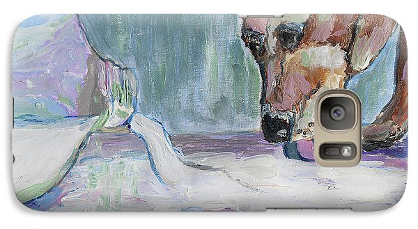 Galaxy Case featuring the photograph Dog And Spilled Milk by Jeanne Forsythe