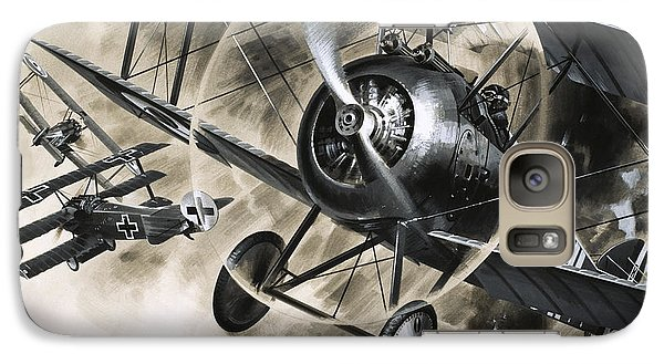 Dog Fight Between British Biplanes And A German Triplane Galaxy S7 Case by Wilf Hardy