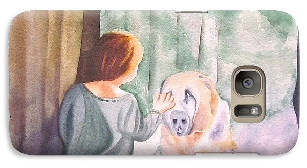 Galaxy Case featuring the painting Dog In The Window by Teresa Beyer