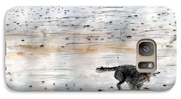 Galaxy Case featuring the painting Dog On Beach by Chriss Pagani