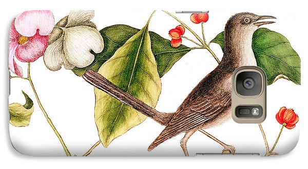 Mockingbird Galaxy S7 Case - Dogwood  Cornus Florida, And Mocking Bird  by Mark Catesby