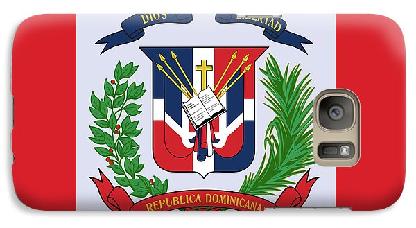 Galaxy Case featuring the drawing Dominican Republic Coat Of Arms by Movie Poster Prints