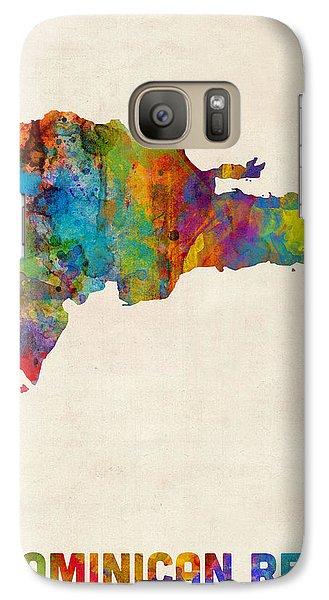 Dominican Republic Watercolor Map Galaxy Case by Michael Tompsett