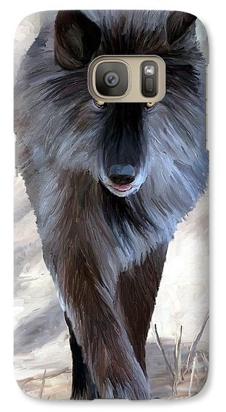 Galaxy Case featuring the painting Gray Wolf Treading Carefully by James Shepherd