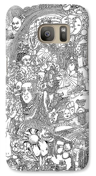 Galaxy Case featuring the drawing Doodle Art 1987 by Steve  Hester