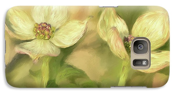 Galaxy Case featuring the digital art Double Dogwood Blossoms In Evening Light by Lois Bryan