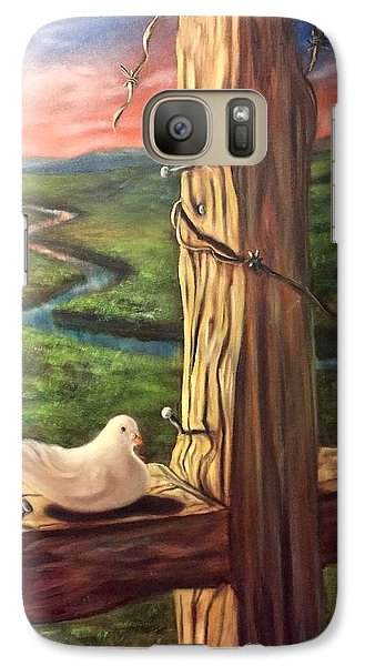 Galaxy Case featuring the painting Dove On A Cross  Paloma  En Una Druz by Randol Burns