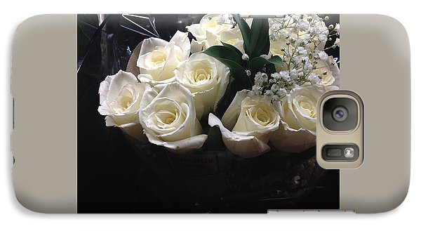 Galaxy Case featuring the photograph Dozen White Bridal Roses by Richard W Linford