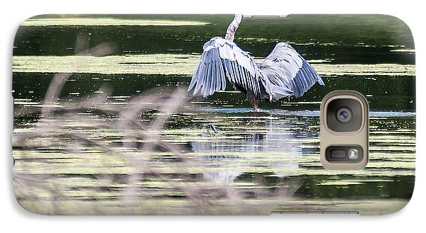 Galaxy Case featuring the photograph Dragonfly And Great Blue Heron by Edward Peterson