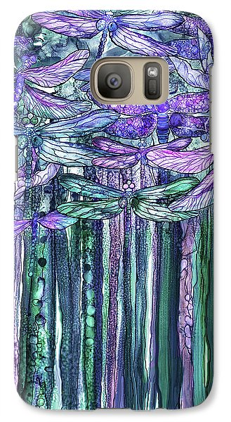 Galaxy Case featuring the mixed media Dragonfly Bloomies 1 - Lavender Teal by Carol Cavalaris