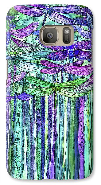 Galaxy Case featuring the mixed media Dragonfly Bloomies 1 - Purple by Carol Cavalaris