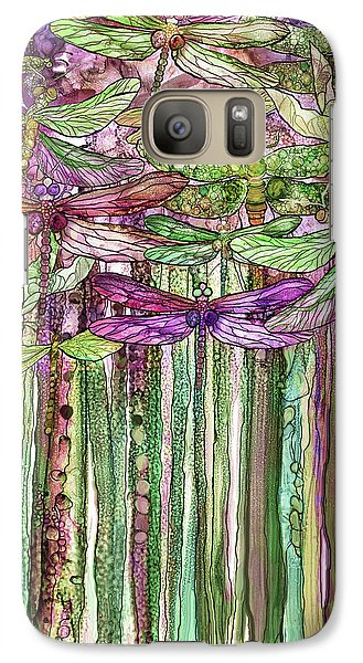 Galaxy Case featuring the mixed media Dragonfly Bloomies 1 - Pink by Carol Cavalaris