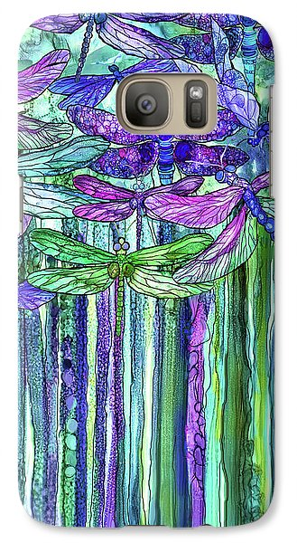 Galaxy Case featuring the mixed media Dragonfly Bloomies 2 - Purple by Carol Cavalaris