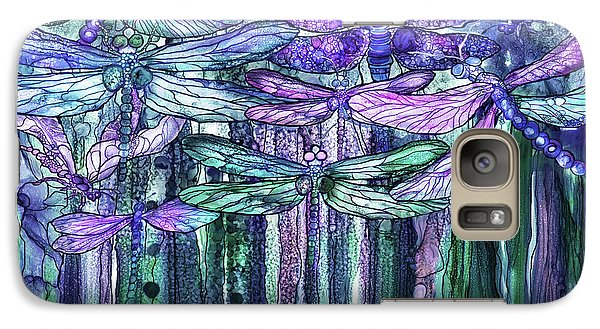 Galaxy Case featuring the mixed media Dragonfly Bloomies 3 - Lavender Teal by Carol Cavalaris