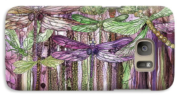 Galaxy Case featuring the mixed media Dragonfly Bloomies 3 - Pink by Carol Cavalaris