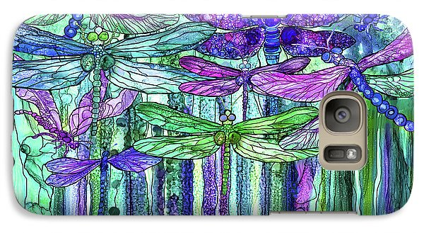 Galaxy Case featuring the mixed media Dragonfly Bloomies 3 - Purple by Carol Cavalaris