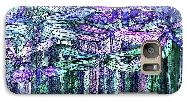 Galaxy Case featuring the mixed media Dragonfly Bloomies 4 - Lavender Teal by Carol Cavalaris