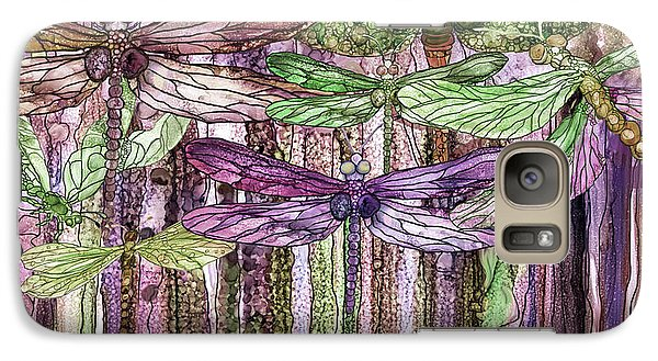 Galaxy Case featuring the mixed media Dragonfly Bloomies 4 - Pink by Carol Cavalaris