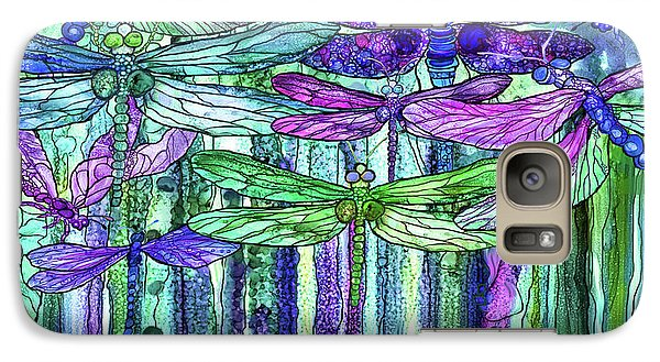 Galaxy Case featuring the mixed media Dragonfly Bloomies 4 - Purple by Carol Cavalaris