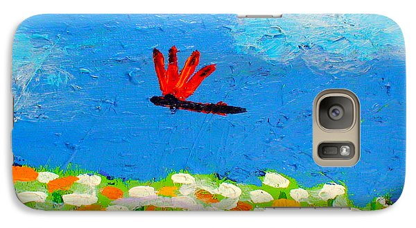 Galaxy Case featuring the painting Dragonfly Closeup From Day And Night by Angela Annas