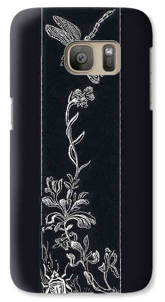Galaxy Case featuring the drawing Dragonfly With Catspaw And Bug by Dawn Senior-Trask